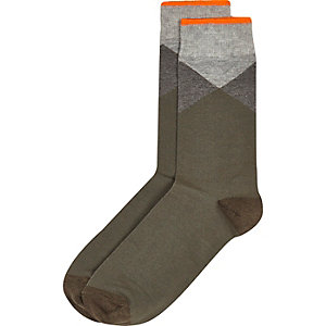 Green color block ankle socks