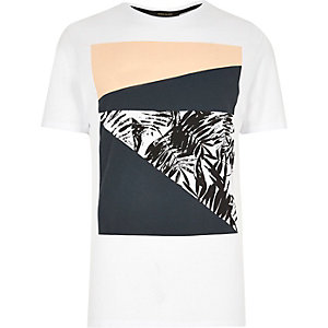 White abstract print T-shirt