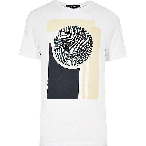 White abstract print T-shirt