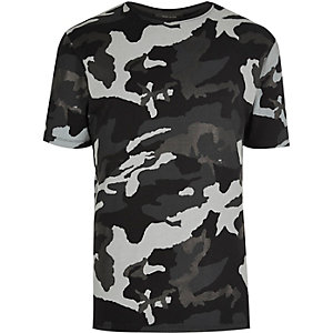 Black metallic camouflage print T-shirt