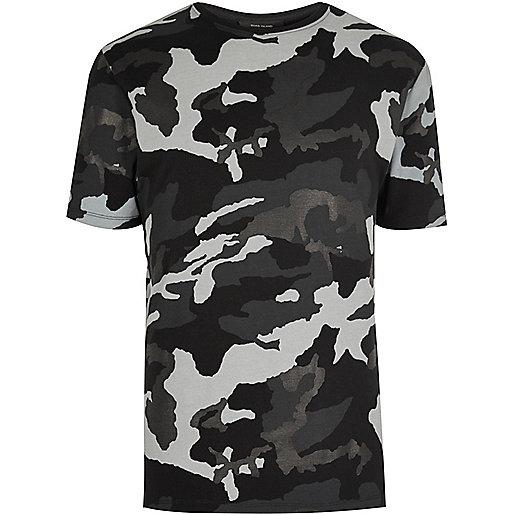 T-shirt camouflage métallisé noir