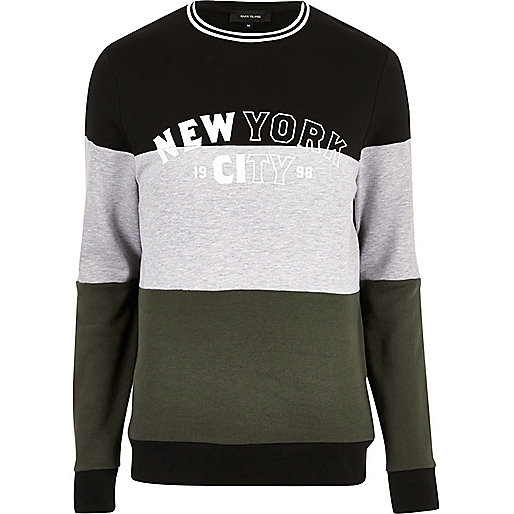 Dark colour block 'New York' sweatshirt