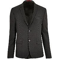 Black geometric print jacquard suit jacket