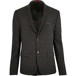 Black geometric print jacquard suit jacket
