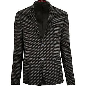 Veste de costume jacquard noire imprimé géométrique