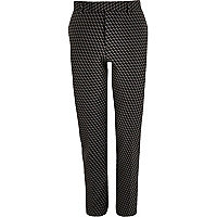 Black geometric print jacquard suit trousers
