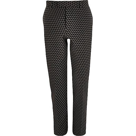Schwarze Jacquard-Anzugshose mit geometrischem Muster