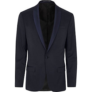Blue skinny tux suit jacket