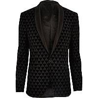 Black geo print skinny fit blazer