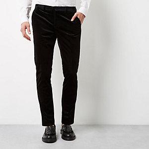 Schwarze, elegante Skinny Fit Samthose