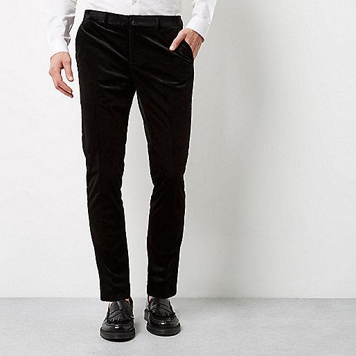 Black smart velvet skinny fit pants
