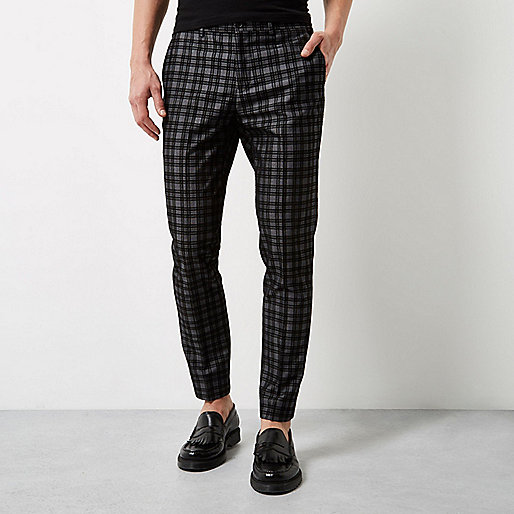 Grey check velvet skinny fit pants