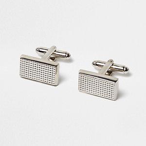 Silver tone grid cufflinks
