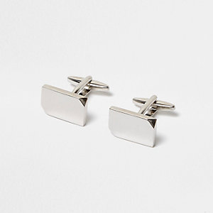 Silver tone smooth cufflinks