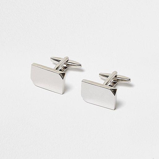 Silver tone smooth cufflinks