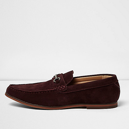 Dark red snaffle loafers