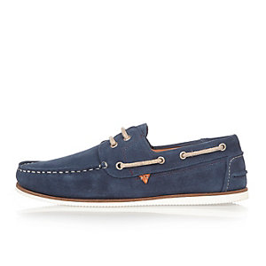 Blue suede boat shoes