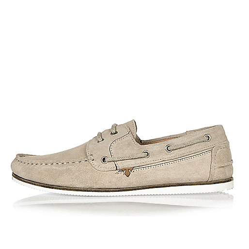 Stone suede boat shoes