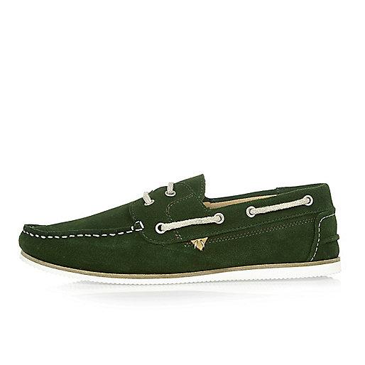 Chaussures bateau en daim vert foncé