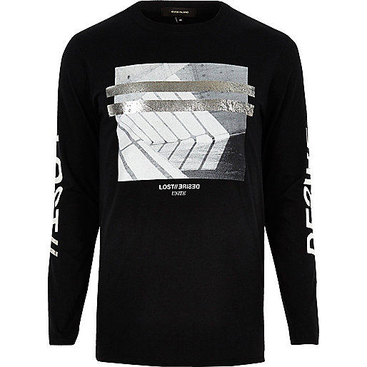 Black metallic print long sleeve T-shirt
