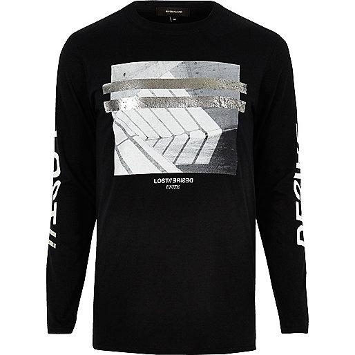 Black metallic print long sleeve T-shirt