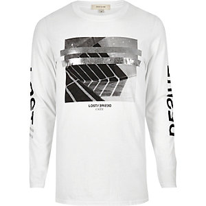 White metallic print long sleeve T-shirt