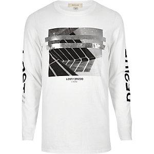 T-shirt blanc imprimé métallisé à manches longues