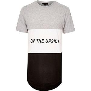 Grey longline mesh panel T-shirt