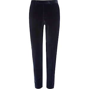 Blue velvet skinny suit trousers