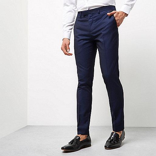 Blue pindot skinny fit smart trousers