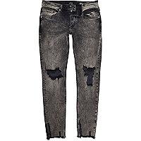 Sid – Schwarze Skinny Jeans mit grobem Saum