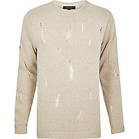 Stone distressed knit jumper