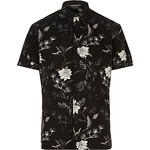 Black oriental print slim fit shirt