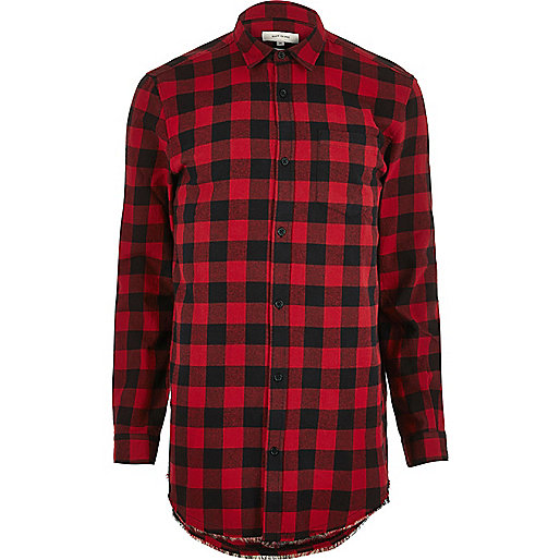 Red checked longline shirt