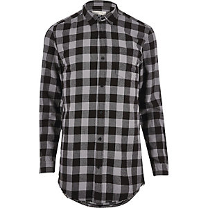 Grey checked longline shirt