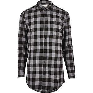 Grey checked longline shirt