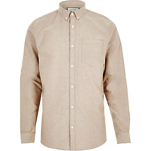 Oatmeal casual Oxford shirt