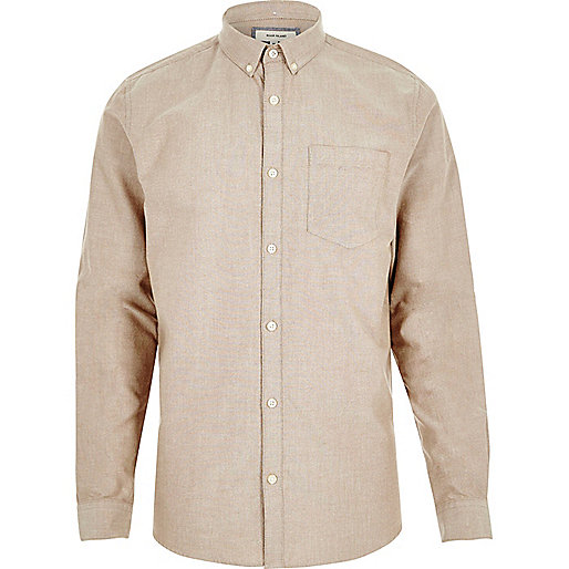 Oatmeal casual Oxford shirt