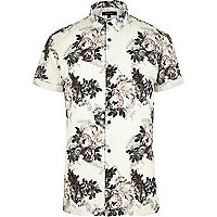 Ecru floral print slim fit shirt