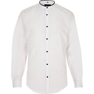 White smart slim fit grandad shirt