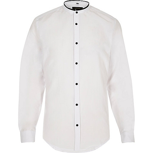 White slim fit grandad shirt