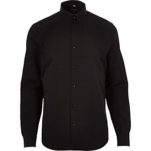 Black smart slim fit cotton shirt