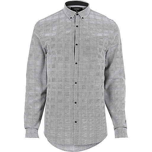 Grey checked flannel slim fit shirt