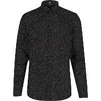 Black slim fit spotty shirt