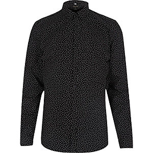 Black slim fit spotty shirt