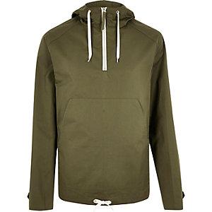 Green zip placket hoodie
