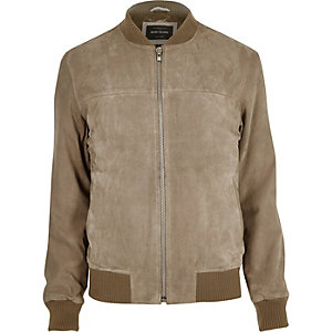 Light grey suede bomber jacket