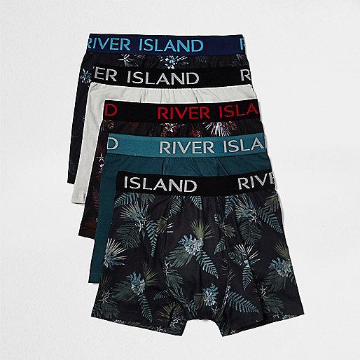 Lot de boxers taille basse dont un imprimé hawaïen rouge foncé