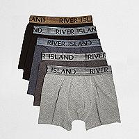 Lot de boxers taille basse noir et gris métallisé