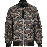 Green camo print quilted jacket
